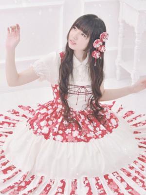 和柄ロリィタ♡ 裾は100枚以上を繋げています♡ ...